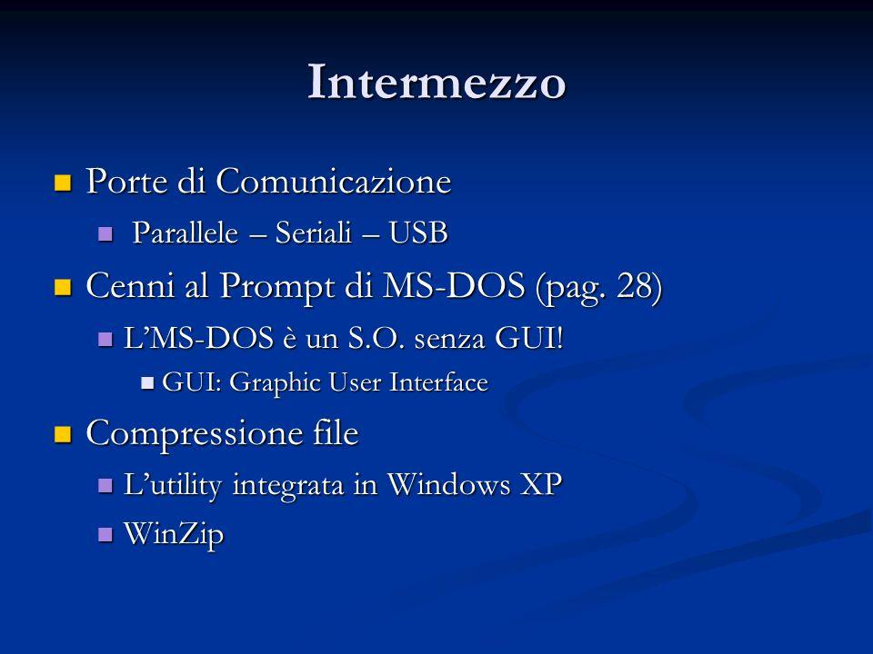 Intermezzo Porte di Comunicazione Porte di Comunicazione Parallele – Seriali – USB Parallele – Seriali – USB Cenni al Prompt di MS-DOS (pag. 28) Cenni