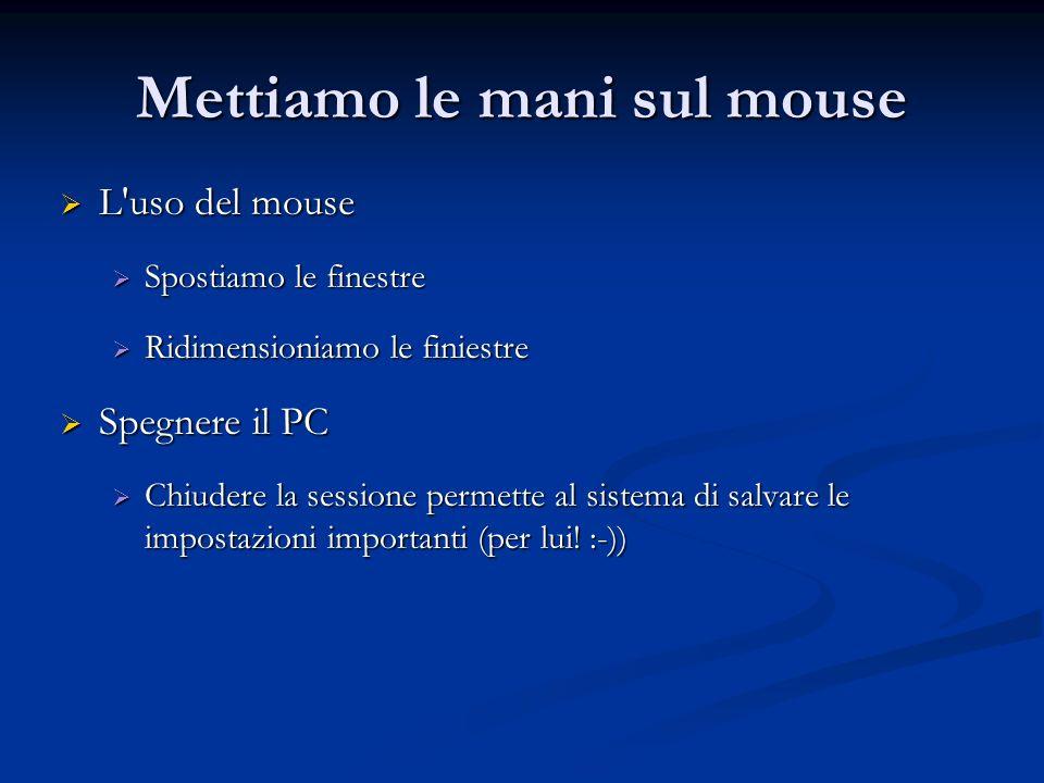 Mettiamo le mani sul mouse L'uso del mouse L'uso del mouse Spostiamo le finestre Spostiamo le finestre Ridimensioniamo le finiestre Ridimensioniamo le