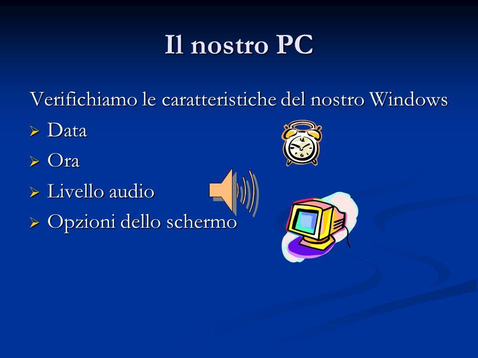 Il nostro PC Verifichiamo le caratteristiche del nostro Windows Data Data Ora Ora Livello audio Livello audio Opzioni dello schermo Opzioni dello sche