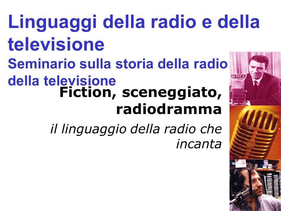 Fiction, sceneggiato, radiodramma il linguaggio della radio che incanta Linguaggi della radio e della televisione Seminario sulla storia della radio e