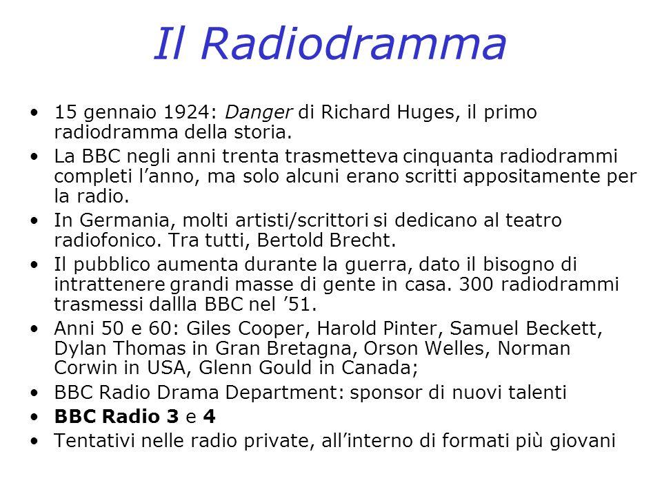 Il Radiodramma 15 gennaio 1924: Danger di Richard Huges, il primo radiodramma della storia. La BBC negli anni trenta trasmetteva cinquanta radiodrammi