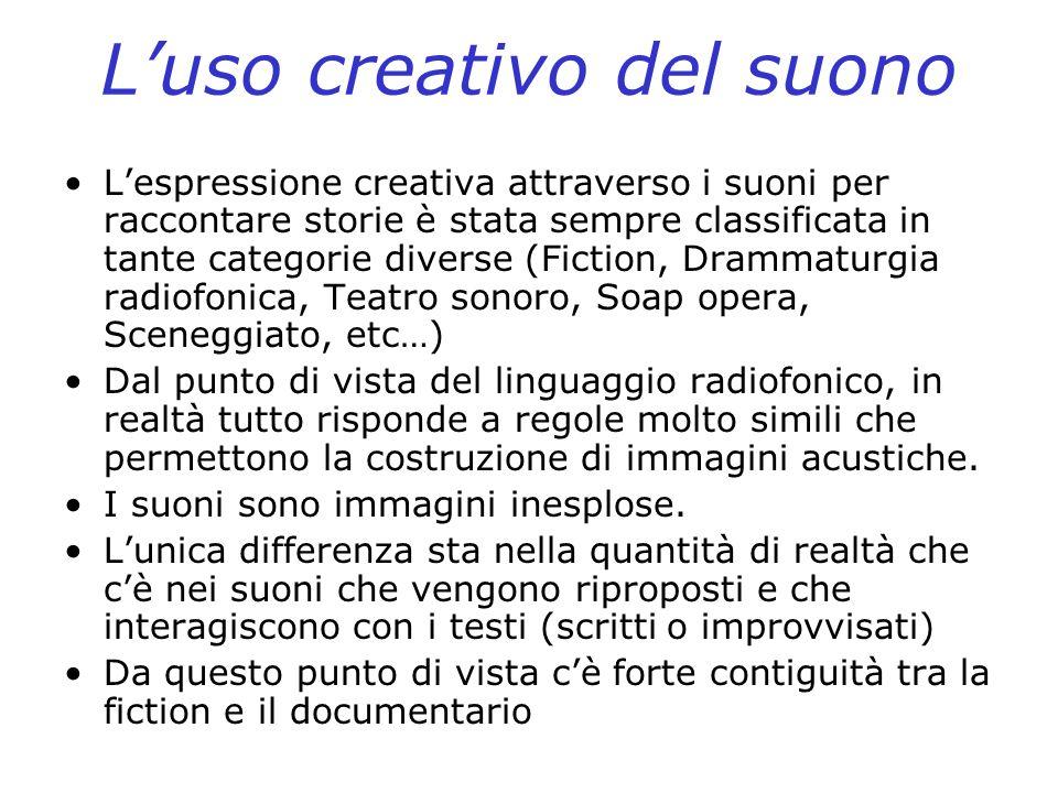 Luso creativo del suono Lespressione creativa attraverso i suoni per raccontare storie è stata sempre classificata in tante categorie diverse (Fiction