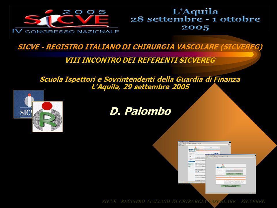 SICVE - REGISTRO ITALIANO DI CHIRURGIA VASCOLARE (SICVEREG) VIII INCONTRO DEI REFERENTI SICVEREG Scuola Ispettori e Sovrintendenti della Guardia di Fi
