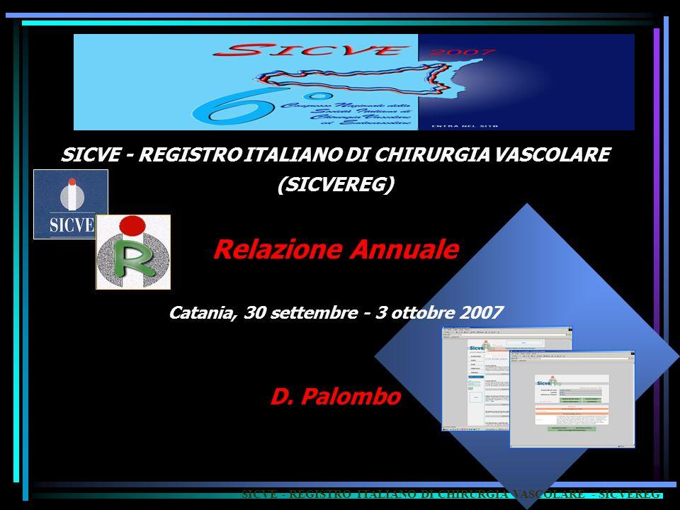 SICVE - REGISTRO ITALIANO DI CHIRURGIA VASCOLARE - SICVEREG SICVE - REGISTRO ITALIANO DI CHIRURGIA VASCOLARE (SICVEREG) Relazione Annuale Catania, 30 settembre - 3 ottobre 2007 D.