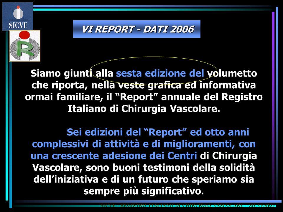Siamo giunti alla sesta edizione del volumetto che riporta, nella veste grafica ed informativa ormai familiare, il Report annuale del Registro Italiano di Chirurgia Vascolare.