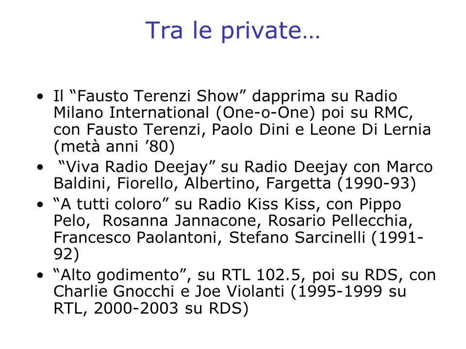 Tra le private… Il Fausto Terenzi Show dapprima su Radio Milano International (One-o-One) poi su RMC, con Fausto Terenzi, Paolo Dini e Leone Di Lernia