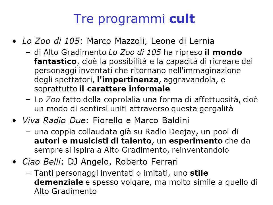 Tre programmi cult Lo Zoo di 105: Marco Mazzoli, Leone di Lernia –di Alto Gradimento Lo Zoo di 105 ha ripreso il mondo fantastico, cioè la possibilità