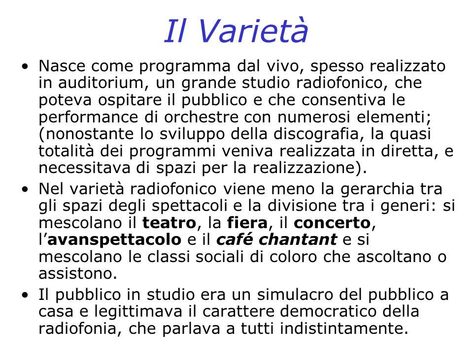 Il Varietà Nasce come programma dal vivo, spesso realizzato in auditorium, un grande studio radiofonico, che poteva ospitare il pubblico e che consent