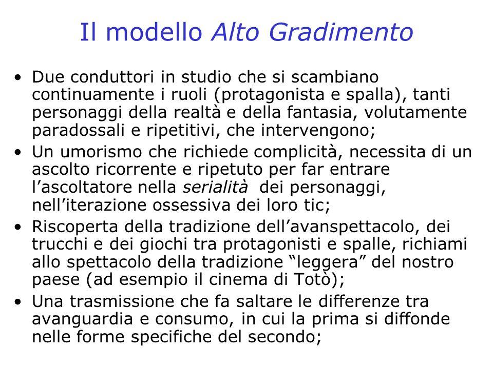 Il modello Alto Gradimento Due conduttori in studio che si scambiano continuamente i ruoli (protagonista e spalla), tanti personaggi della realtà e de
