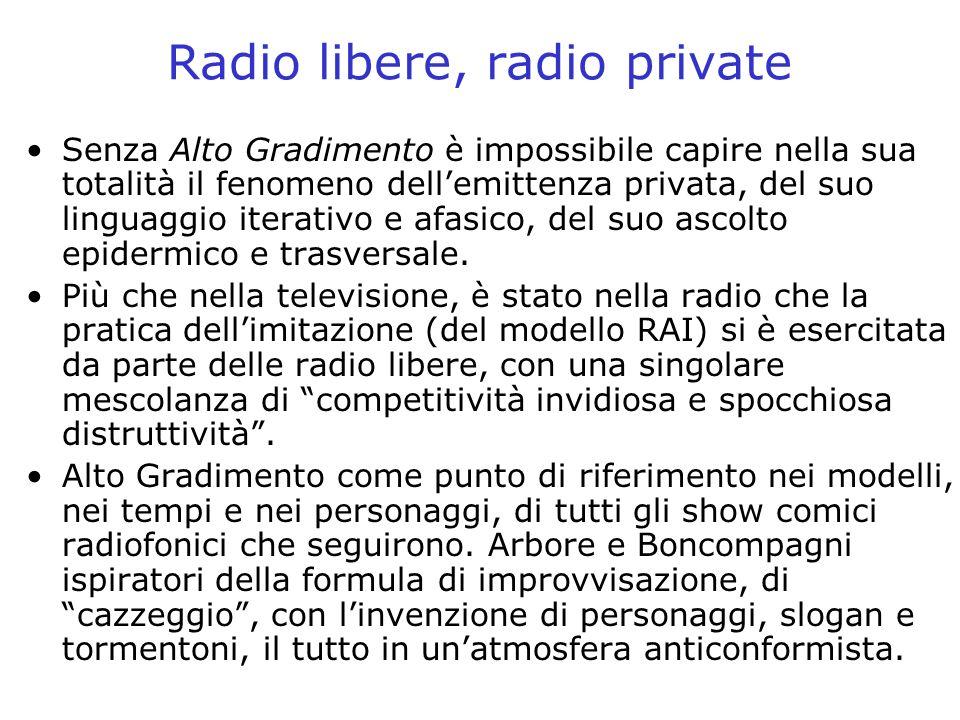 Radio libere, radio private Senza Alto Gradimento è impossibile capire nella sua totalità il fenomeno dellemittenza privata, del suo linguaggio iterat