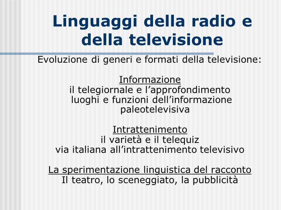 Linguaggi della radio e della televisione Evoluzione di generi e formati della televisione: Informazione il telegiornale e lapprofondimento luoghi e f