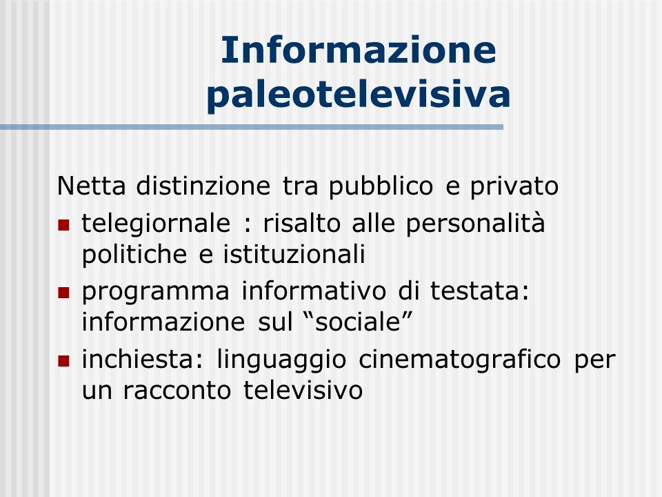 Informazione paleotelevisiva Netta distinzione tra pubblico e privato telegiornale : risalto alle personalità politiche e istituzionali programma info