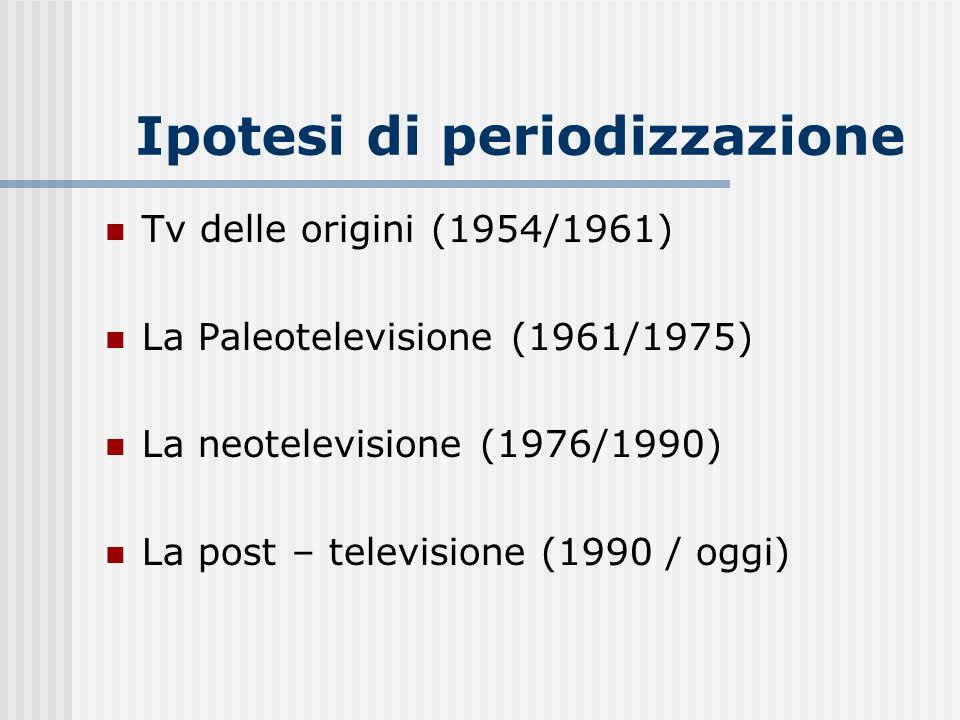 Ipotesi di periodizzazione Tv delle origini (1954/1961) La Paleotelevisione (1961/1975) La neotelevisione (1976/1990) La post – televisione (1990 / og