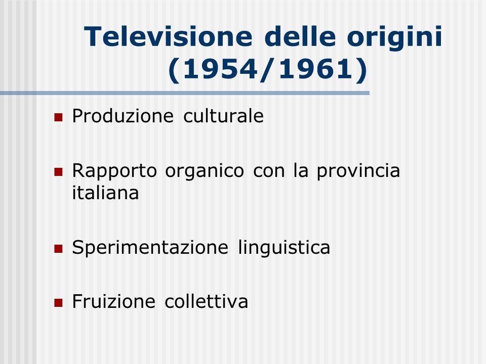 Televisione delle origini (1954/1961) Produzione culturale Rapporto organico con la provincia italiana Sperimentazione linguistica Fruizione collettiv
