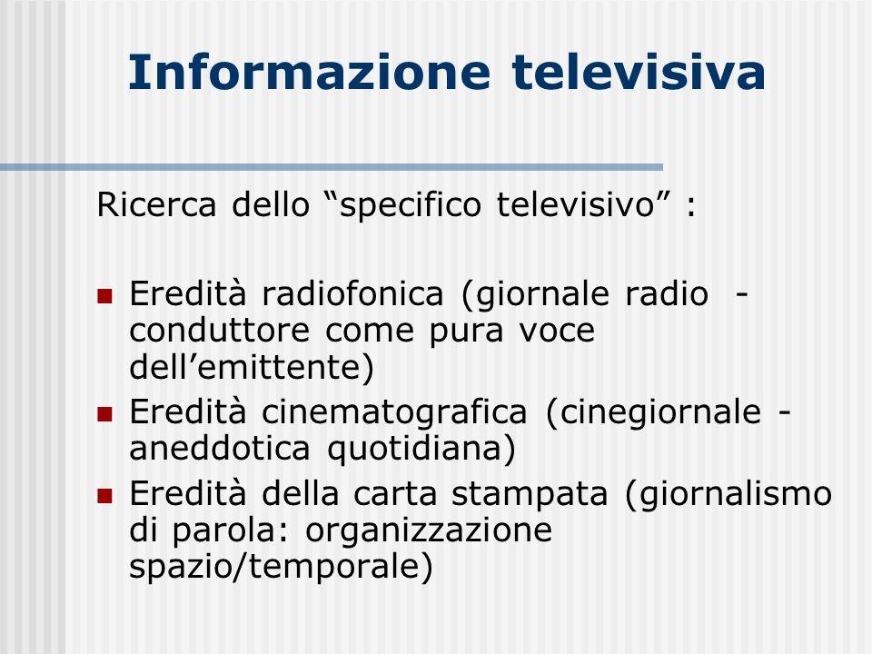 Informazione televisiva Ricerca dello specifico televisivo : Eredità radiofonica (giornale radio - conduttore come pura voce dellemittente) Eredità ci