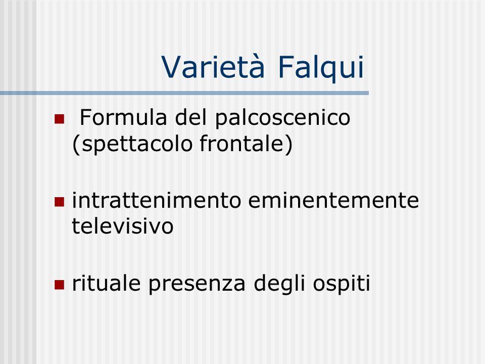 Varietà Falqui Formula del palcoscenico (spettacolo frontale) intrattenimento eminentemente televisivo rituale presenza degli ospiti