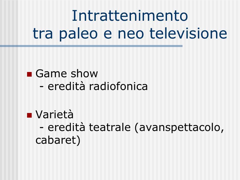 Game show allitaliana Ibridazione del genere statunitense secondo tre modelli: 1) Il genere Mike 2) Telematch / Campanile sera: cultura e corporeità, asetticità degli studi e ritmo convulso dei collegamenti esterni: evento televisivo di piazza 3) Il Musichiere: la canzonetta, il conduttore (Mario Riva), gli ospiti illustri