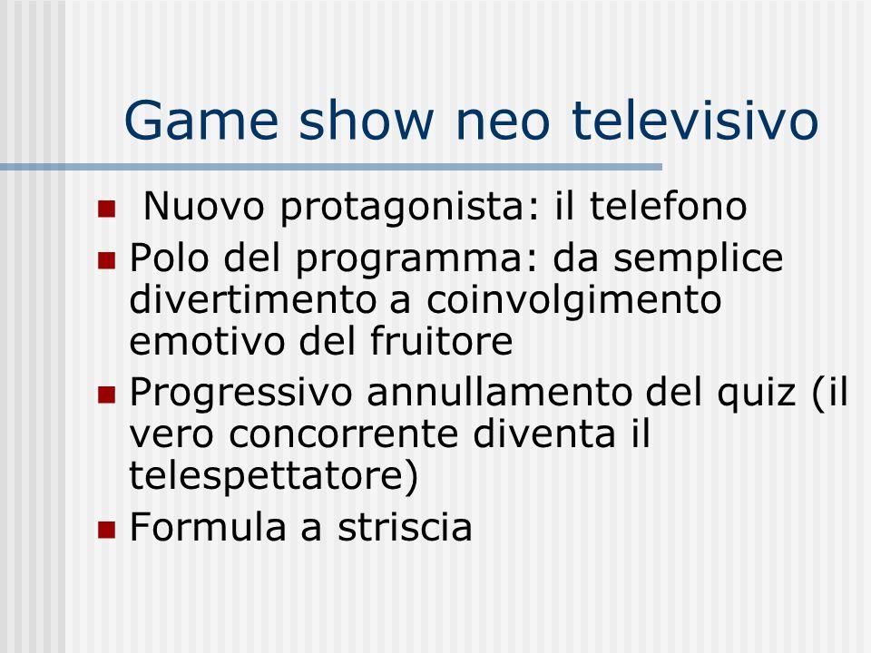 Game show neo televisivo Nuovo protagonista: il telefono Polo del programma: da semplice divertimento a coinvolgimento emotivo del fruitore Progressiv