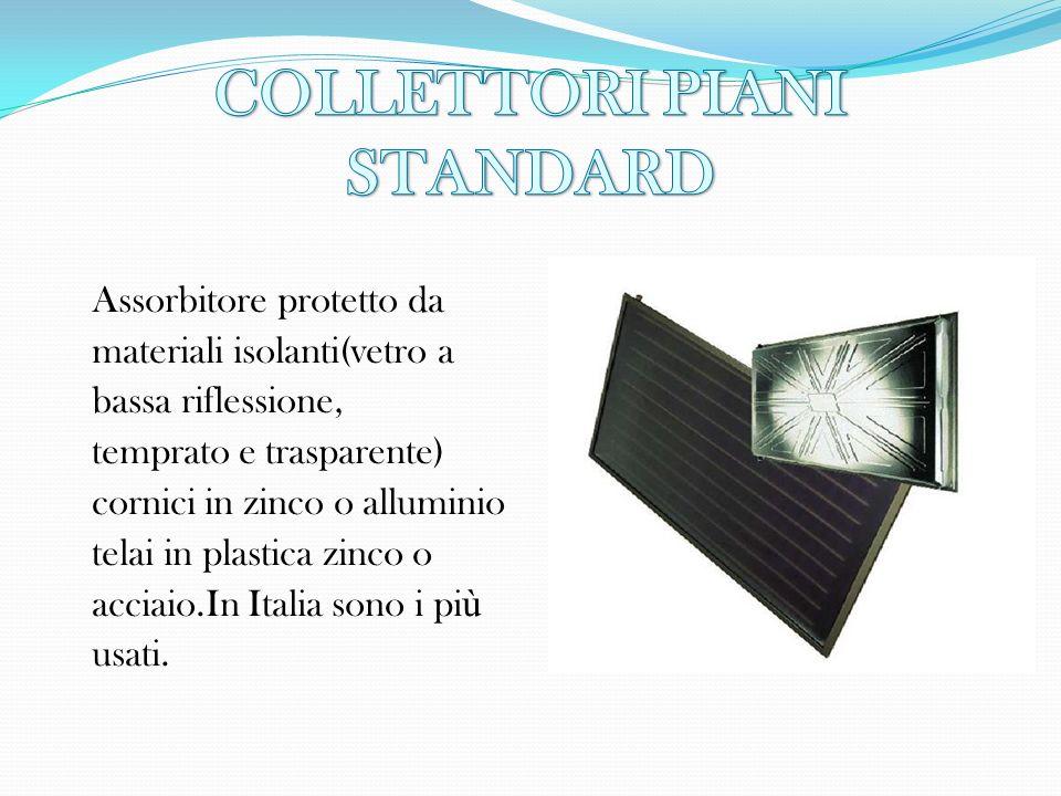 Assorbitore protetto da materiali isolanti(vetro a bassa riflessione, temprato e trasparente) cornici in zinco o alluminio telai in plastica zinco o a