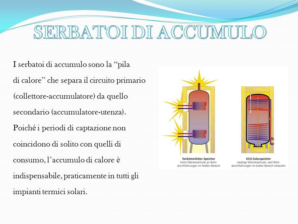 I serbatoi di accumulo sono la pila di calore che separa il circuito primario (collettore-accumulatore) da quello secondario (accumulatore-utenza). Po