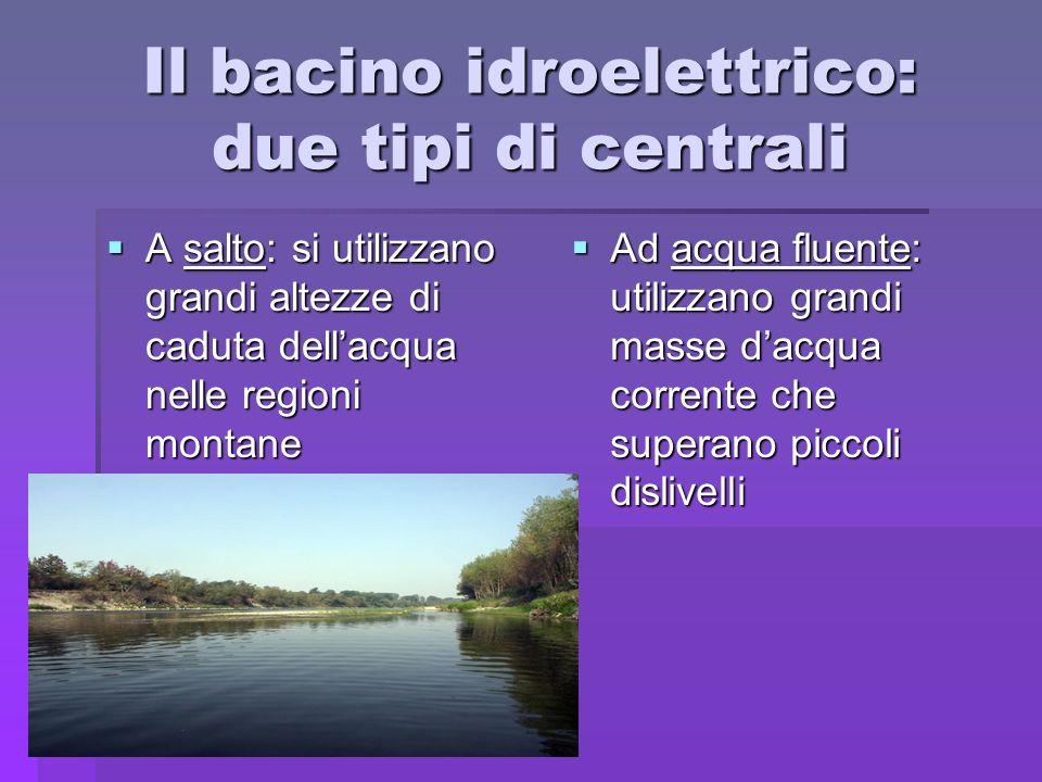 Il bacino idroelettrico: due tipi di centrali A salto: si utilizzano grandi altezze di caduta dellacqua nelle regioni montane A salto: si utilizzano g