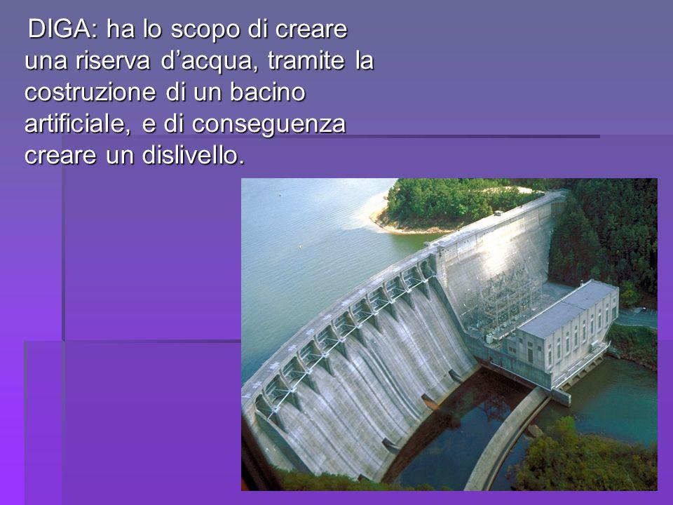 DIGA: ha lo scopo di creare una riserva dacqua, tramite la costruzione di un bacino artificiale, e di conseguenza creare un dislivello. DIGA: ha lo sc