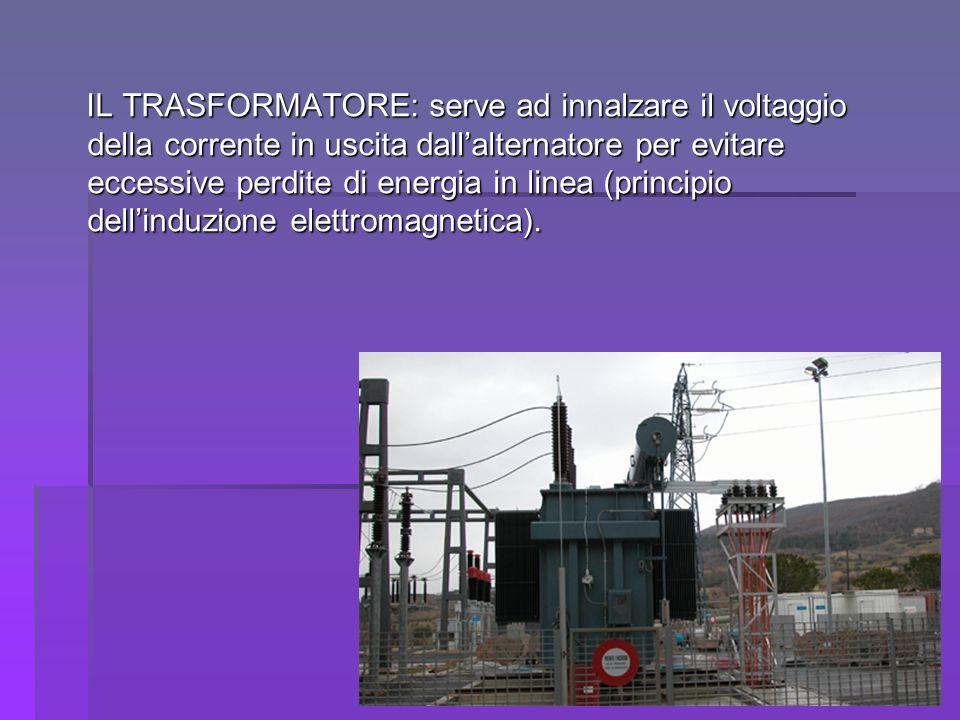 IL TRASFORMATORE: serve ad innalzare il voltaggio della corrente in uscita dallalternatore per evitare eccessive perdite di energia in linea (principi