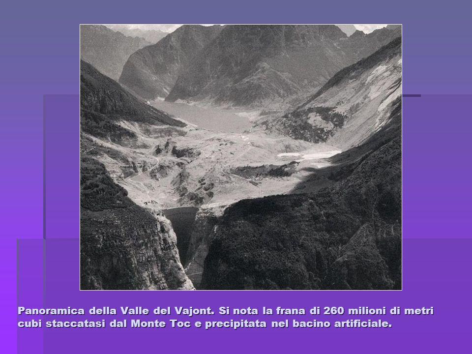 Panoramica della Valle del Vajont. Si nota la frana di 260 milioni di metri cubi staccatasi dal Monte Toc e precipitata nel bacino artificiale.