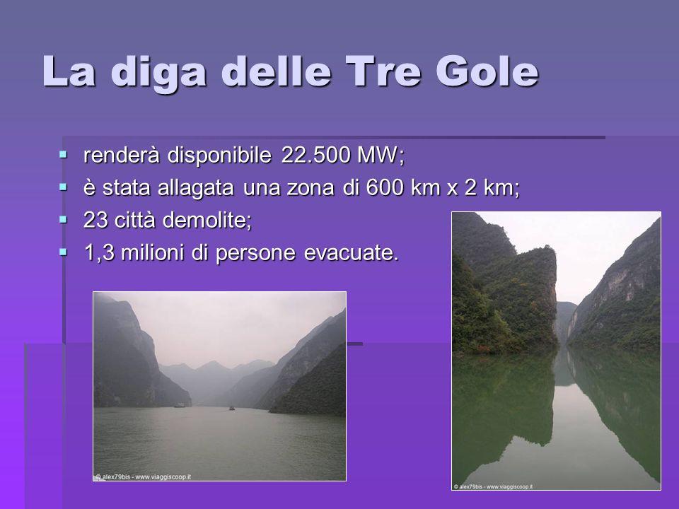La diga delle Tre Gole renderà disponibile 22.500 MW; renderà disponibile 22.500 MW; è stata allagata una zona di 600 km x 2 km; è stata allagata una