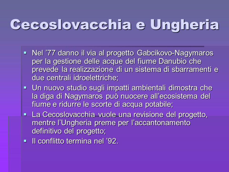 Cecoslovacchia e Ungheria Nel 77 danno il via al progetto Gabcikovo-Nagymaros per la gestione delle acque del fiume Danubio che prevede la realizzazio
