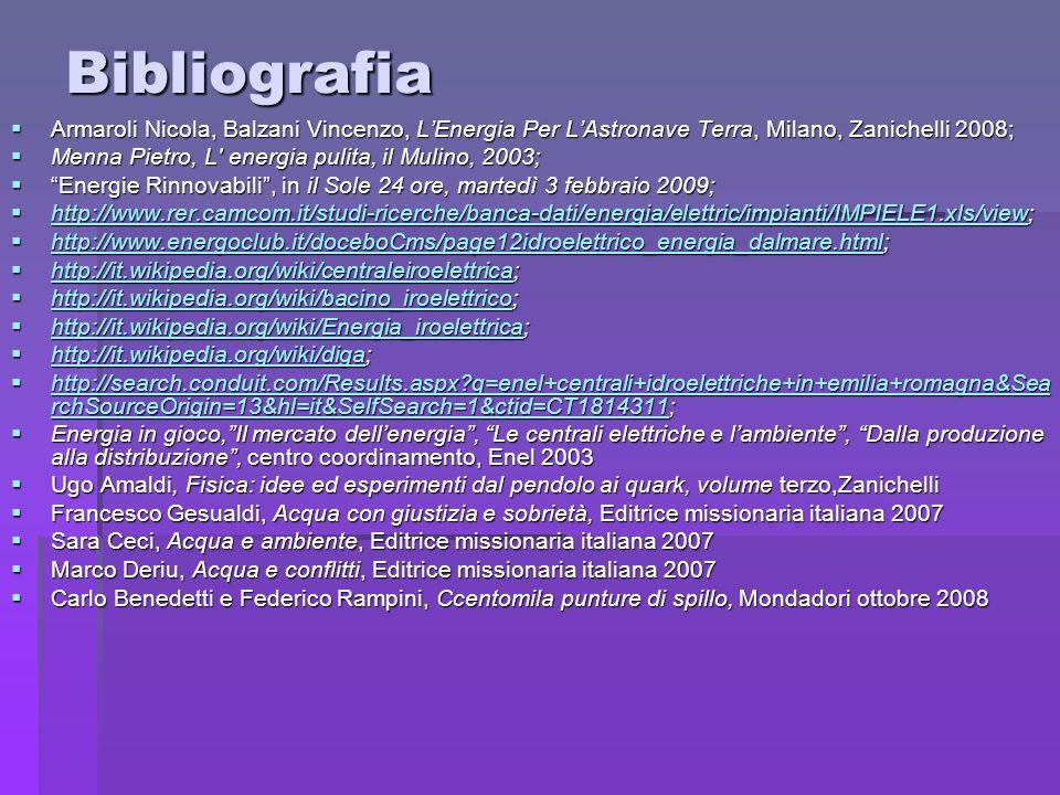Bibliografia Armaroli Nicola, Balzani Vincenzo, LEnergia Per LAstronave Terra, Milano, Zanichelli 2008; Armaroli Nicola, Balzani Vincenzo, LEnergia Pe