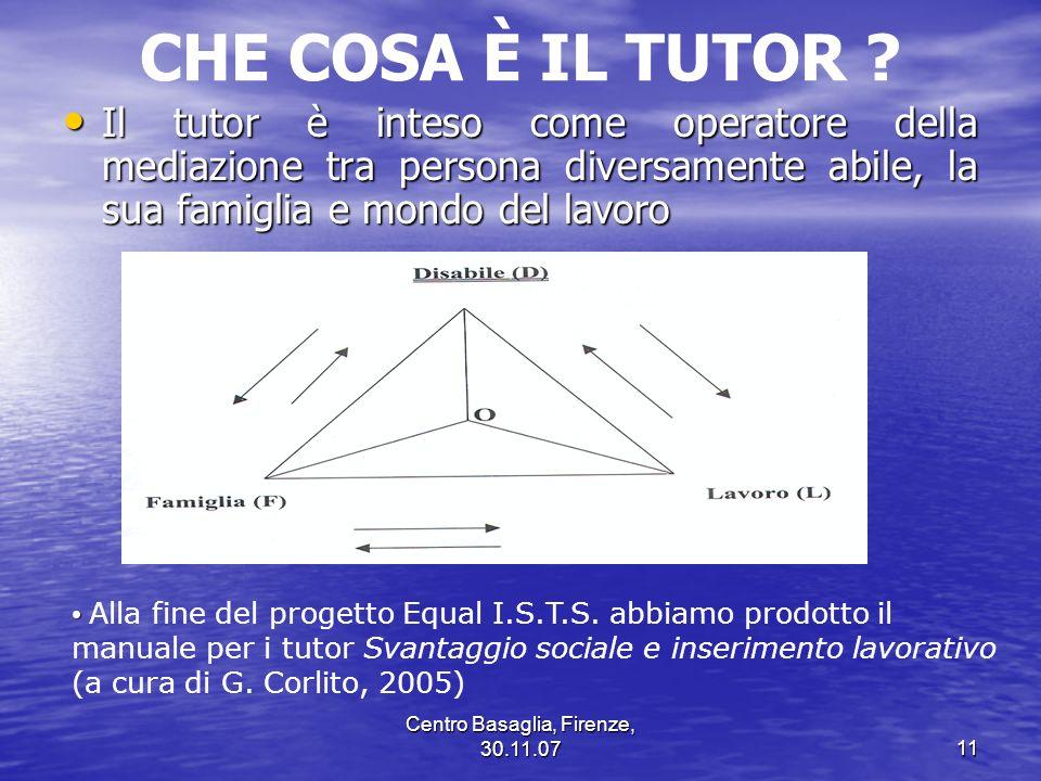 Centro Basaglia, Firenze, 30.11.0711 CHE COSA È IL TUTOR ? Il tutor è inteso come operatore della mediazione tra persona diversamente abile, la sua fa