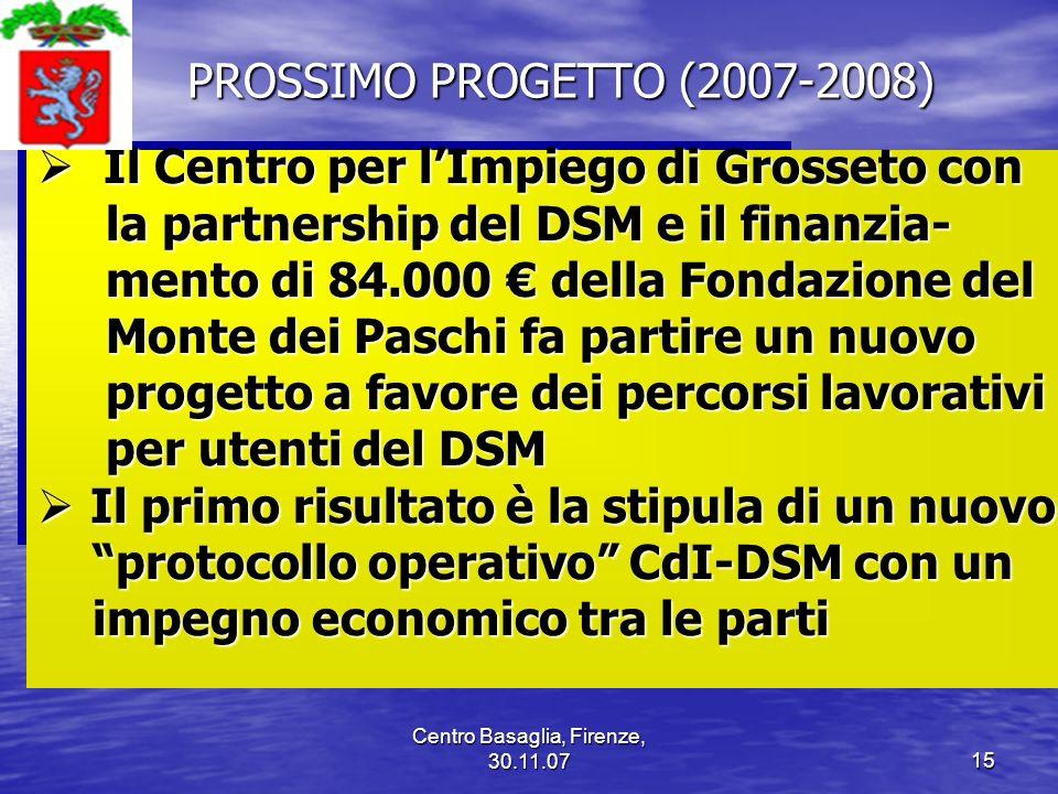 Centro Basaglia, Firenze, 30.11.0715 PROSSIMO PROGETTO (2007-2008) PROSSIMO PROGETTO (2007-2008) Il Centro per lImpiego di Grosseto con Il Centro per