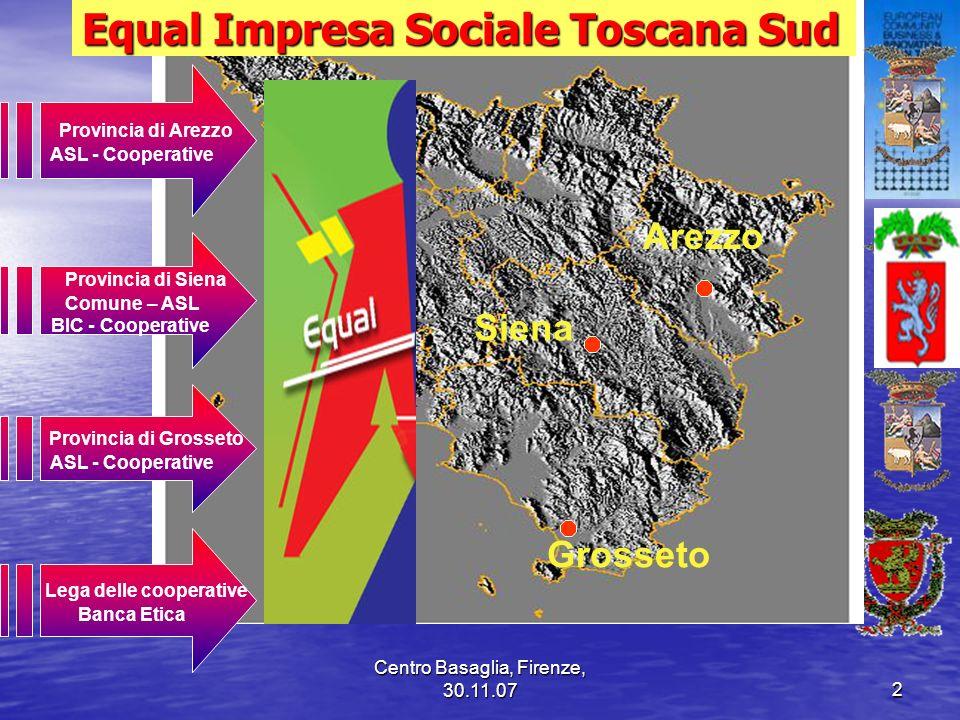 Centro Basaglia, Firenze, 30.11.072 Equal Impresa Sociale Toscana Sud Provincia di Arezzo ASL - Cooperative Provincia di Siena Comune – ASL BIC - Coop