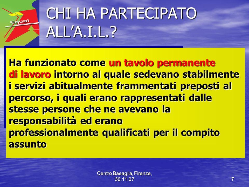 Centro Basaglia, Firenze, 30.11.077 CHI HA PARTECIPATO ALLA.I.L.? CHI HA PARTECIPATO ALLA.I.L.? Ha funzionato come un tavolo permanente di lavoro into