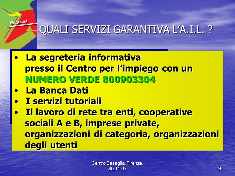 Centro Basaglia, Firenze, 30.11.079 QUALI SERVIZI GARANTIVA LA.I.L. ? QUALI SERVIZI GARANTIVA LA.I.L. ? La segreteria informativaLa segreteria informa