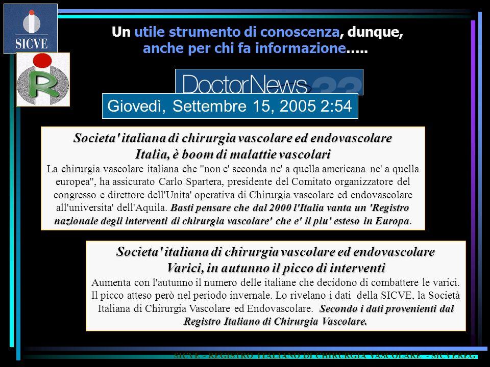 SICVE - REGISTRO ITALIANO DI CHIRURGIA VASCOLARE - SICVEREG Societa' italiana di chirurgia vascolare ed endovascolare Italia, è boom di malattie vasco