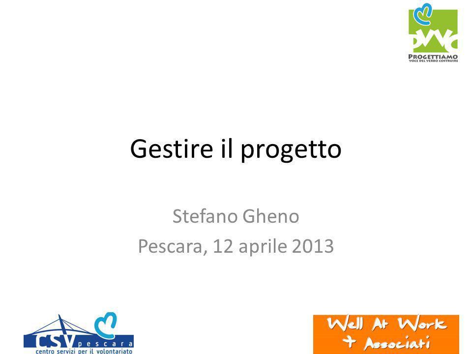 Gestire il progetto Stefano Gheno Pescara, 12 aprile 2013