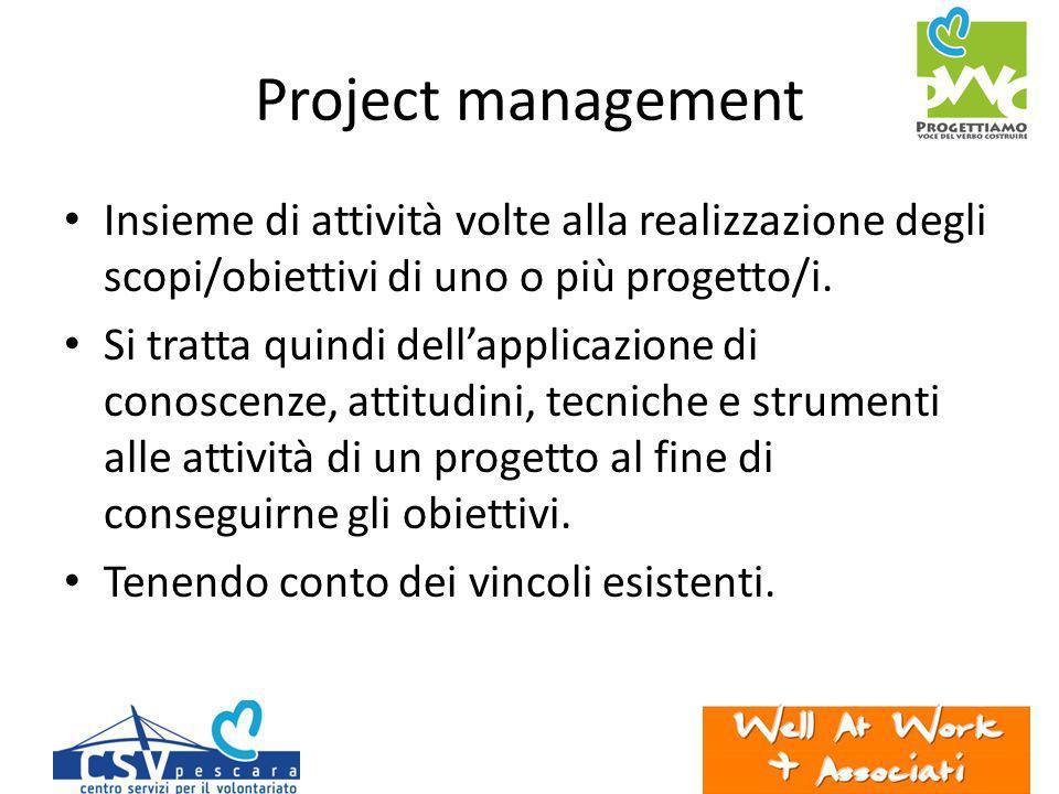 Project management Insieme di attività volte alla realizzazione degli scopi/obiettivi di uno o più progetto/i.