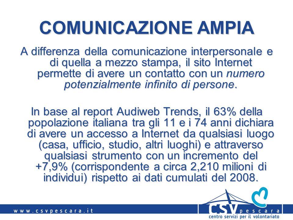 COMUNICAZIONE AMPIA A differenza della comunicazione interpersonale e di quella a mezzo stampa, il sito Internet permette di avere un contatto con un