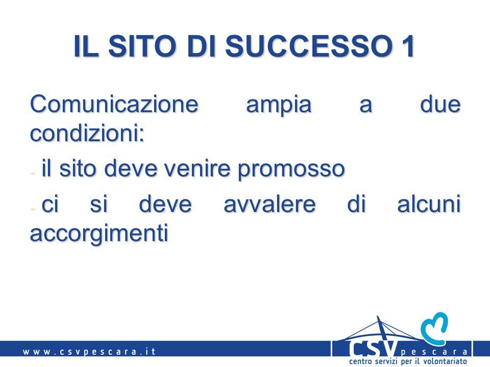 IL SITO DI SUCCESSO 1 Comunicazione ampia a due condizioni: - il sito deve venire promosso - ci si deve avvalere di alcuni accorgimenti