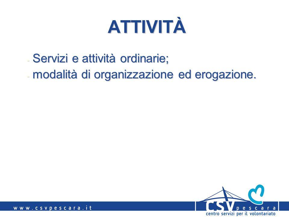 ATTIVITÀ - Servizi e attività ordinarie; - modalità di organizzazione ed erogazione.