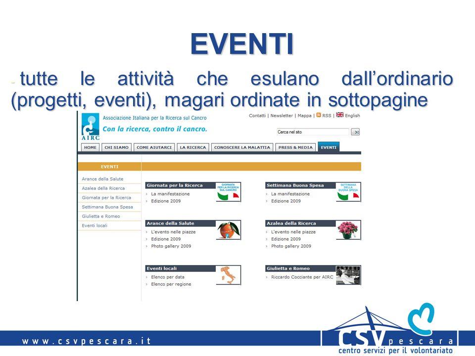 EVENTI - tutte le attività che esulano dallordinario (progetti, eventi), magari ordinate in sottopagine