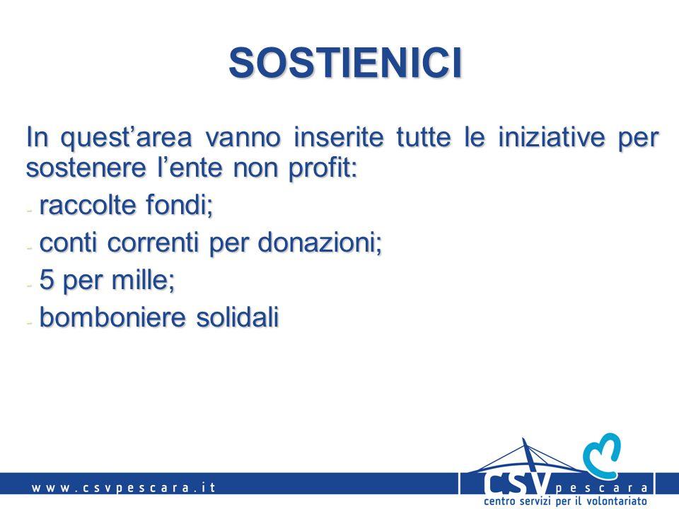 SOSTIENICI In questarea vanno inserite tutte le iniziative per sostenere lente non profit: - raccolte fondi; - conti correnti per donazioni; - 5 per m