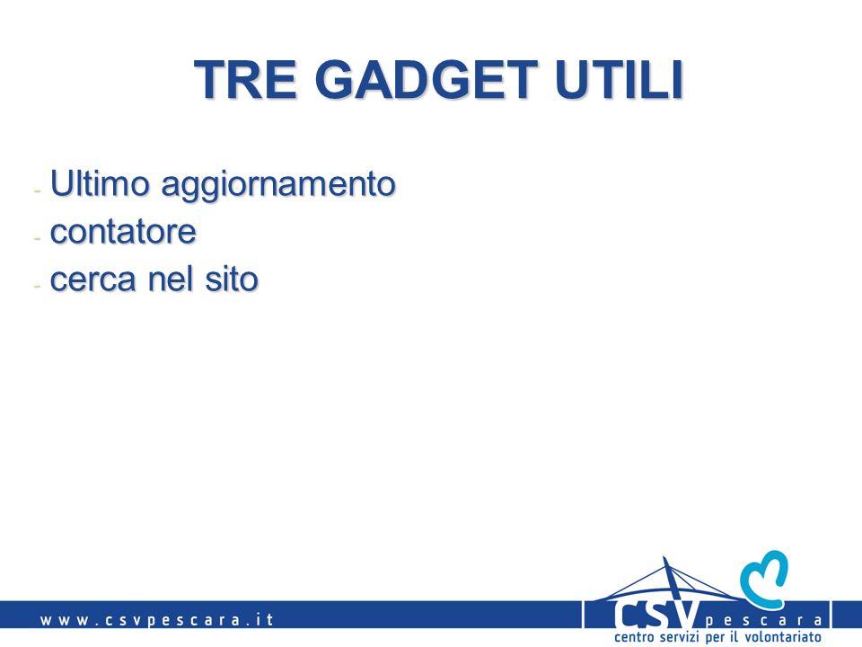 TRE GADGET UTILI - Ultimo aggiornamento - contatore - cerca nel sito