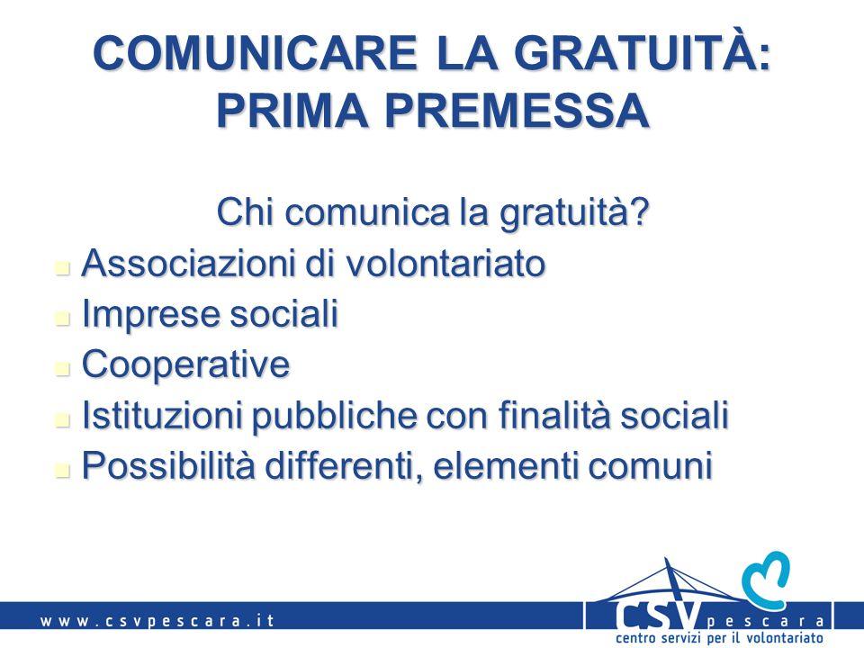 COMUNICARE LA GRATUITÀ: PRIMA PREMESSA Chi comunica la gratuità? Associazioni di volontariato Associazioni di volontariato Imprese sociali Imprese soc