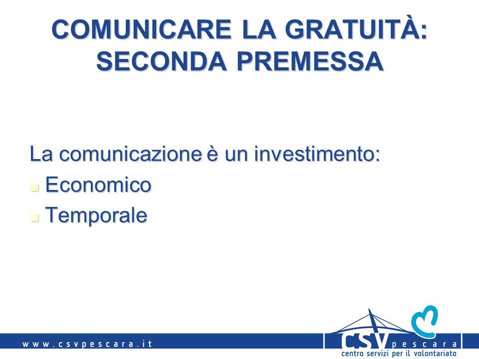 COMUNICARE LA GRATUITÀ: SECONDA PREMESSA La comunicazione è un investimento: Economico Economico Temporale Temporale