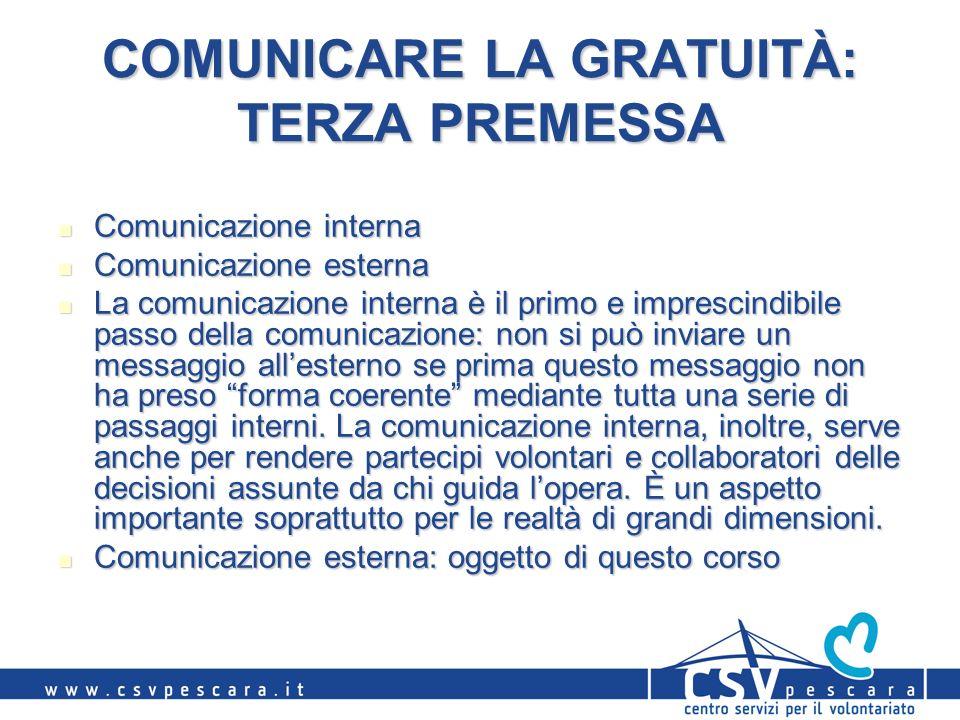 COMUNICARE LA GRATUITÀ: TERZA PREMESSA Comunicazione interna Comunicazione interna Comunicazione esterna Comunicazione esterna La comunicazione intern