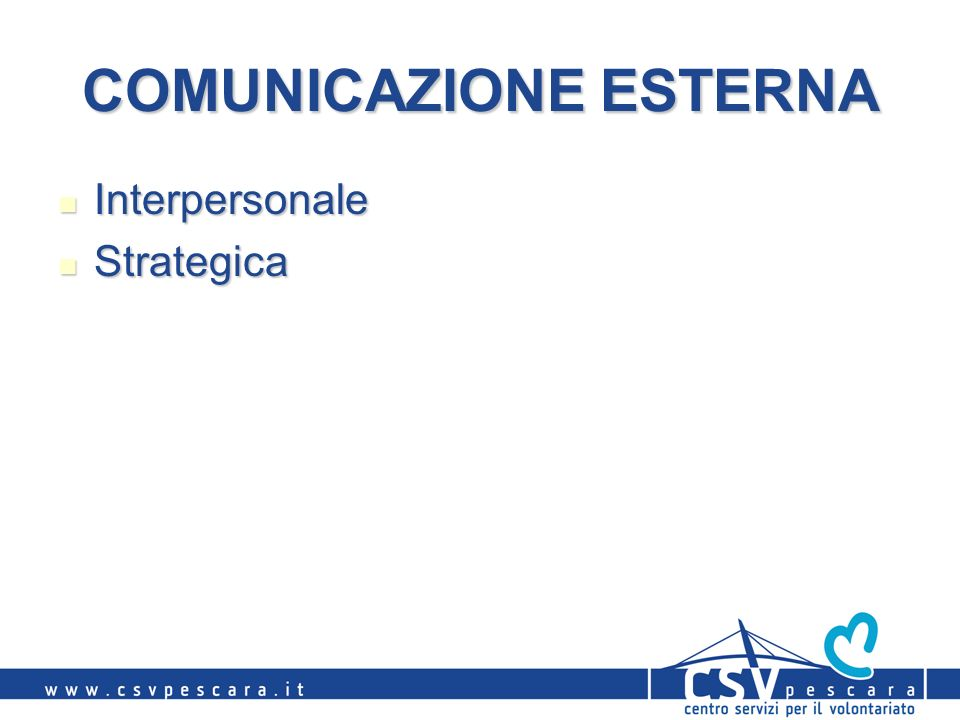 COMUNICAZIONE ESTERNA Interpersonale Interpersonale Strategica Strategica
