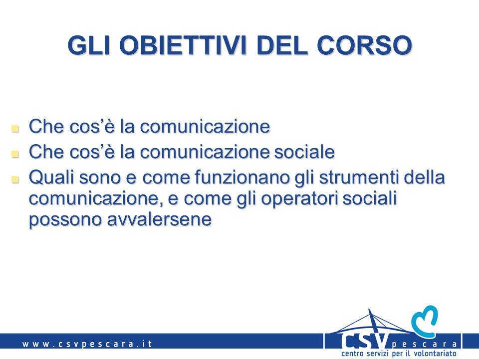 GLI OBIETTIVI DEL CORSO Che cosè la comunicazione Che cosè la comunicazione Che cosè la comunicazione sociale Che cosè la comunicazione sociale Quali sono e come funzionano gli strumenti della comunicazione, e come gli operatori sociali possono avvalersene Quali sono e come funzionano gli strumenti della comunicazione, e come gli operatori sociali possono avvalersene